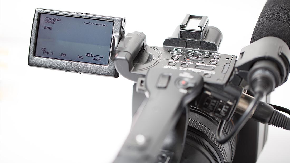 Eine Kamera von bm - bildung in medienberufen in Köln. Hiermit arbeiten angehende Mediengestalter Bild und Ton.